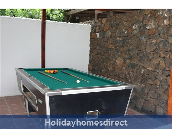 Villa Marcos With Private Pool, Puerto Del Carmen, Lanzarote: Pool table - terrace off the kitchen