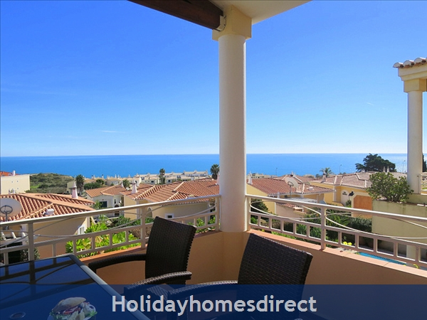 Villa Miranda. Praia Da Luz .. 2 Bedrooms, Full Air-con, Private Pool, Fantastic Sea Views !: Panoramic Sea Views from the Veranda