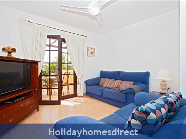 Villa Eileen, 4 Bed Villa In Lanzarote With Private Pool Sleeps 10, Free Air Con/wifi: TV Room Off Master Bedroom