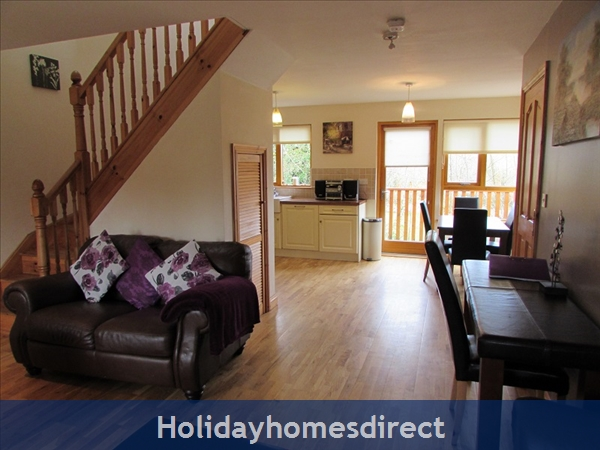 Cornadarragh Forest Park, Luxurious Log Cabin: Lounge and dining area