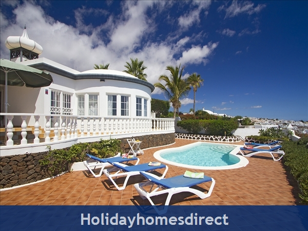 Villa El Sueno With Panoramic Sea Views & Private Heated Pool, Puerto Del Carmen Old Town, Lanzarote: El Sueno view