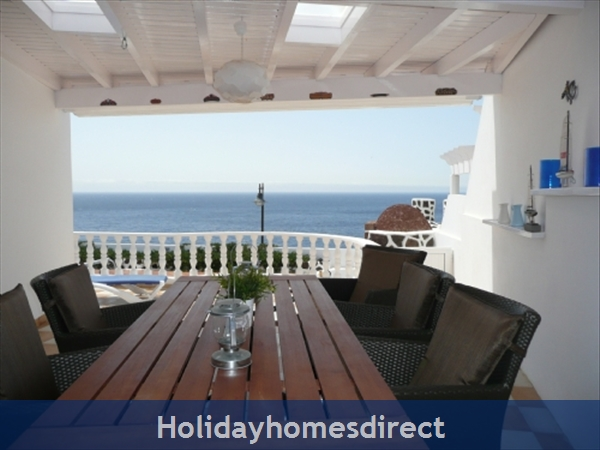 Villa El Sueno With Panoramic Sea Views & Private Heated Pool, Puerto Del Carmen Old Town, Lanzarote: Pool terrace view