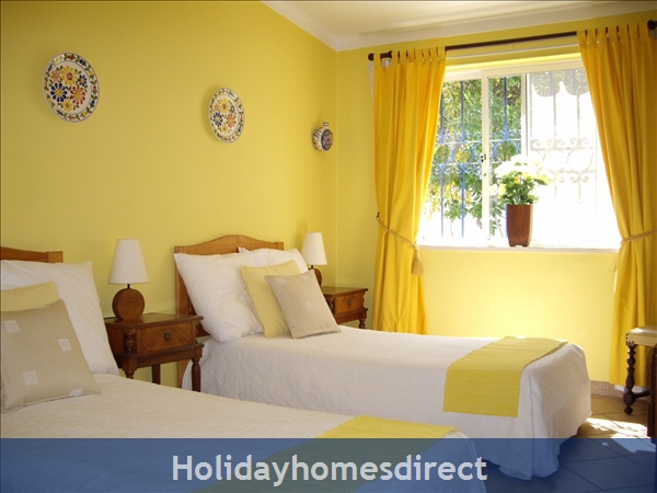 Casa Romantica Near Albufeira With Private Heatable Pool And Free Wireless Internet: Twin bedroom 1 with air con and built in wardrobes