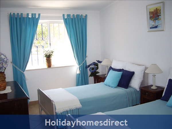 Casa Romantica Near Albufeira With Private Heatable Pool And Free Wireless Internet: Twin bedroom 2 with air-con and built in wardrobes