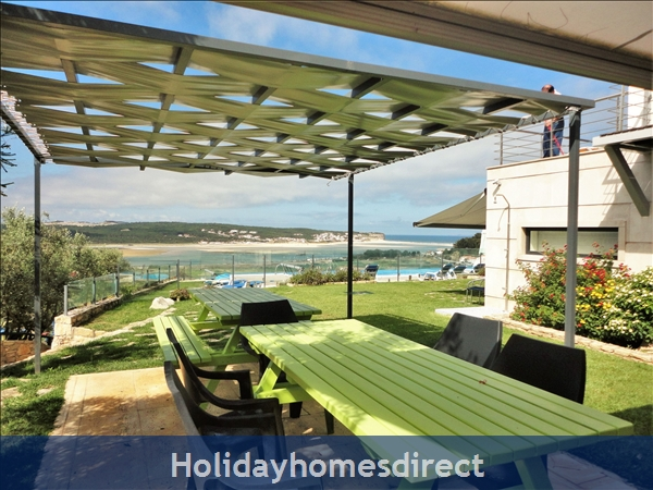 Large Luxury Silver Coast Villa, Free Pool Heating, Family Friendly: Barbecue's lunch terrace with seats for 12 people