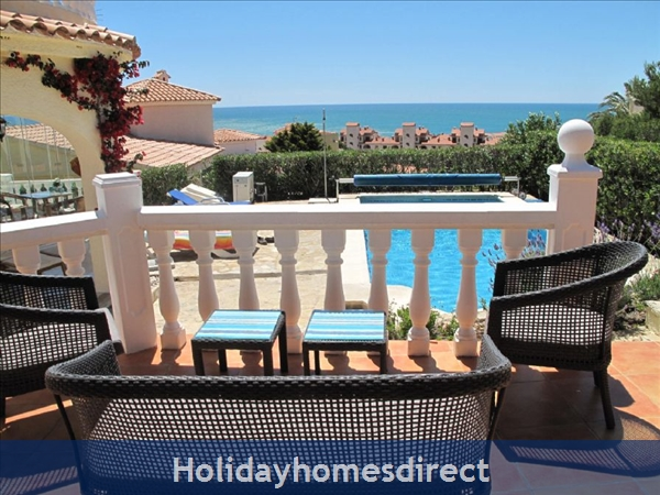 Villa Santos, 2 Bed, Air Con, Sat Tv Wifi, Heated Pool, Outstanding Bbq Terrace Fantastic Seaviews Quiet Location, 15minutes Walk To Shops And Beaches: View from BBQ Terrace
