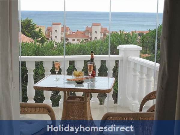 Villa Santos, 2 Bed, Air Con, Sat Tv Wifi, Heated Pool, Outstanding Bbq Terrace Fantastic Seaviews Quiet Location, 15minutes Walk To Shops And Beaches: Neya Terrace with Glass Curtains