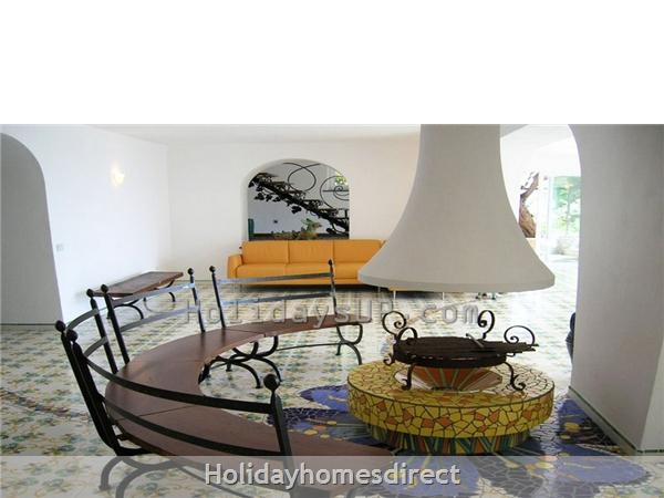 Villa Carlotta With Private Pool Sorrento Coast: Living area fireplace amalfi coast villa vacation