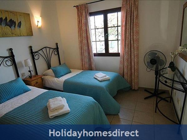 Villa Blanca two single beds in spare bedroom